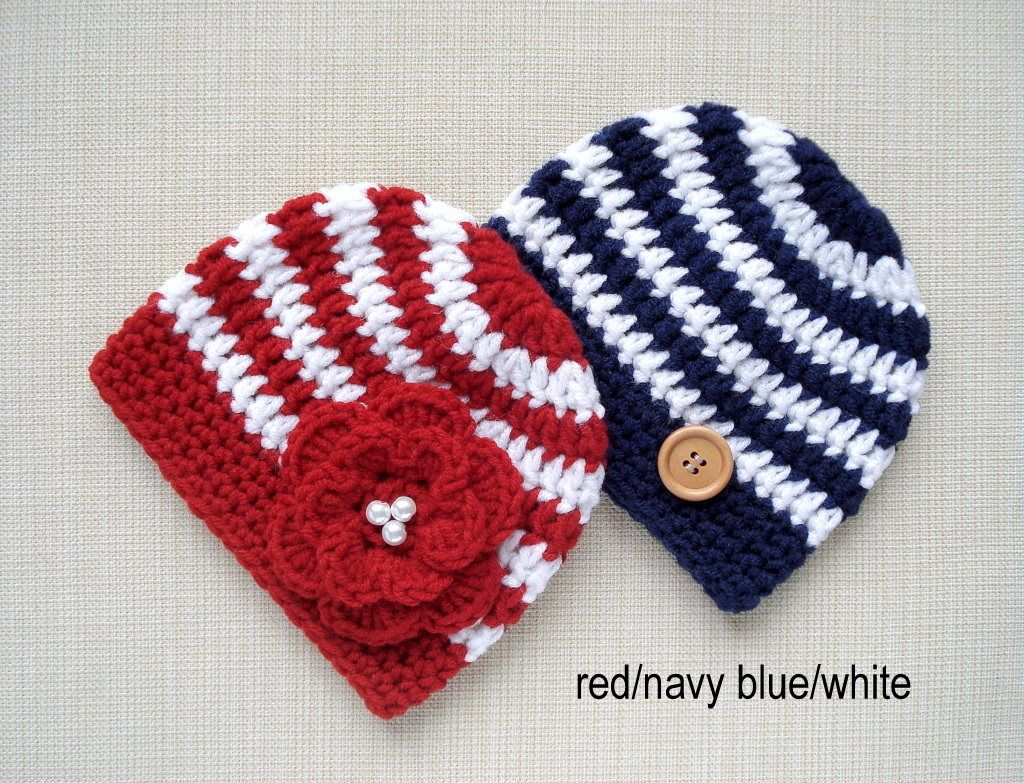 d433463cc Matching Hats for Twin Girl and Boy, 0-3 month warm hand Crochet ...