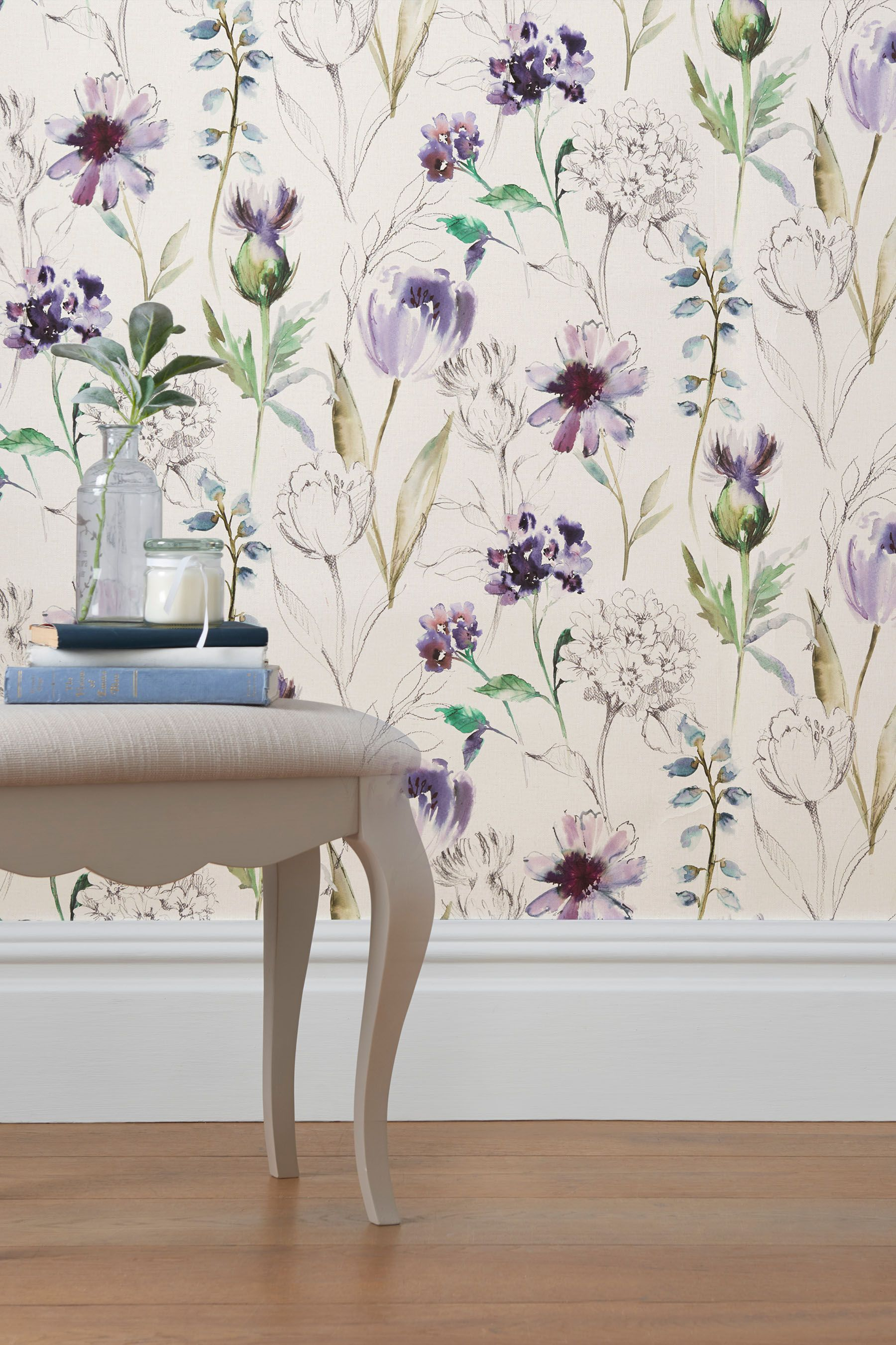 Paste The Wall Purple Floral Wallpaper Watercolor floral