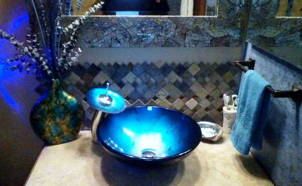 @Overstock.com - Blue Tempered Glass Vessel Bathroom Sink - The look of  museum