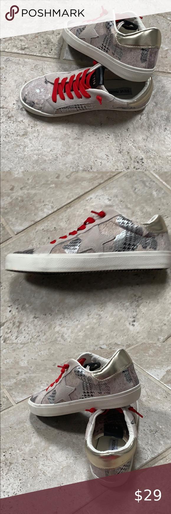 New Steve Madden Philosophy Golden Star Sneakers In 2020 Star Sneakers Steve Madden Sneakers
