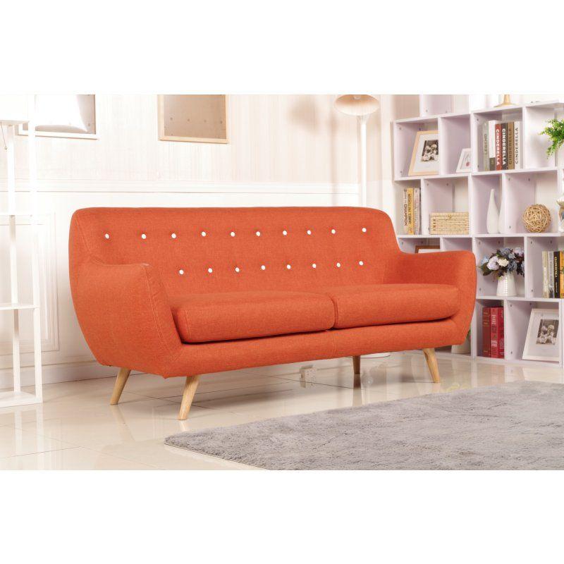 Orange Fabric Sofa Palm Canyon Easmor Modern Orange Twill