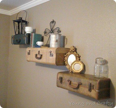 14 Inspiring Decorating Ideas   Suitcase shelves, Vintage ...