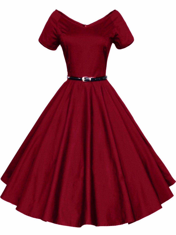 725932fe58141d LUOUSE 40s 50s 60s Vintage V-Ausschnitt Schwingen Rockabilly Pinup  Ballkleid Partei Kleid: Amazon.de: Bekleidung
