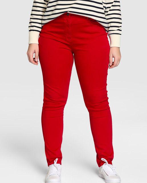 0cf3cb93b1 Pantalón pitillo de mujer talla grande Couchel en rojo