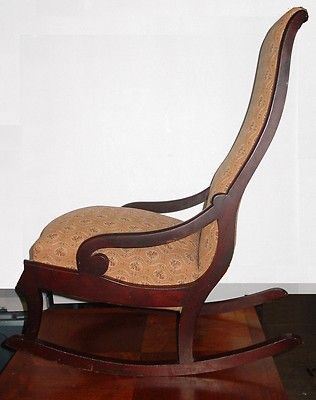 Antique Mahogany Empire Style Rocking Chair   Upholstered Rocker   3u0027 Tall