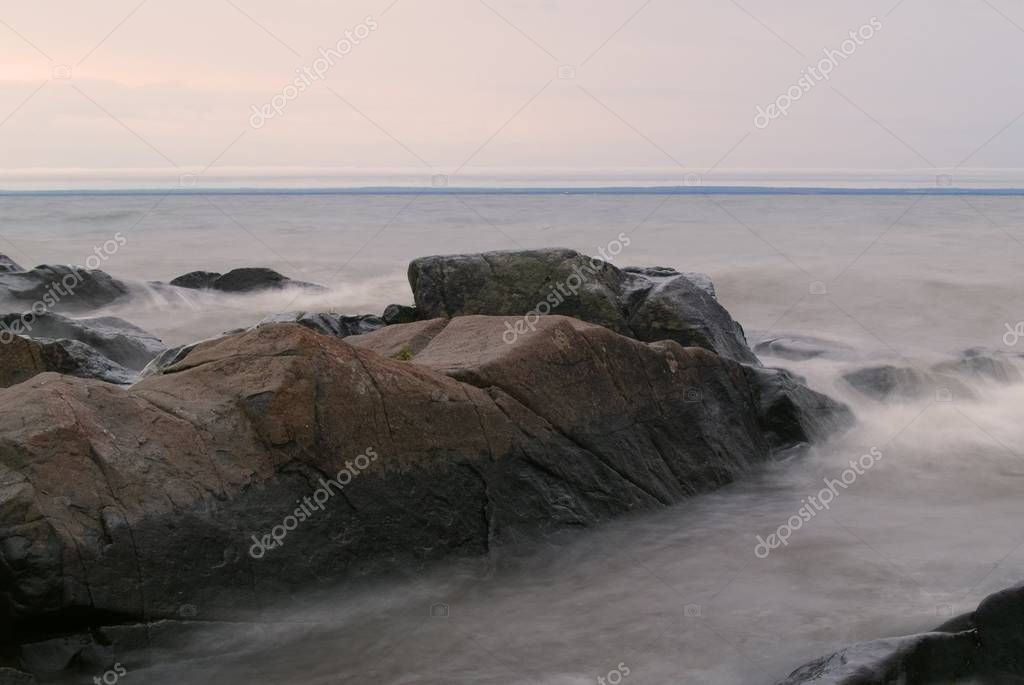 Stones Stormy Misty Grey Water Lake Superior  Stock Photo