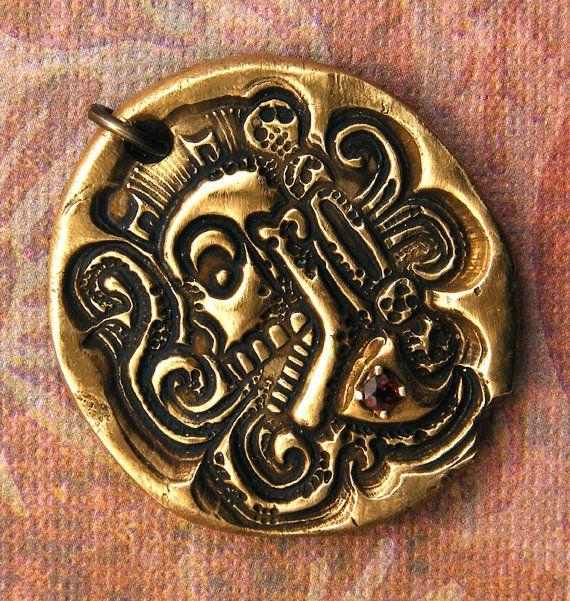 Mayan Skull Pendant  Handcrafted Bronze Ancient by WildRavenStudio, $38.00