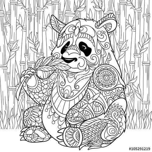 Zentangle Panda Sitting Among Bamboo Stems For Adult Antistress