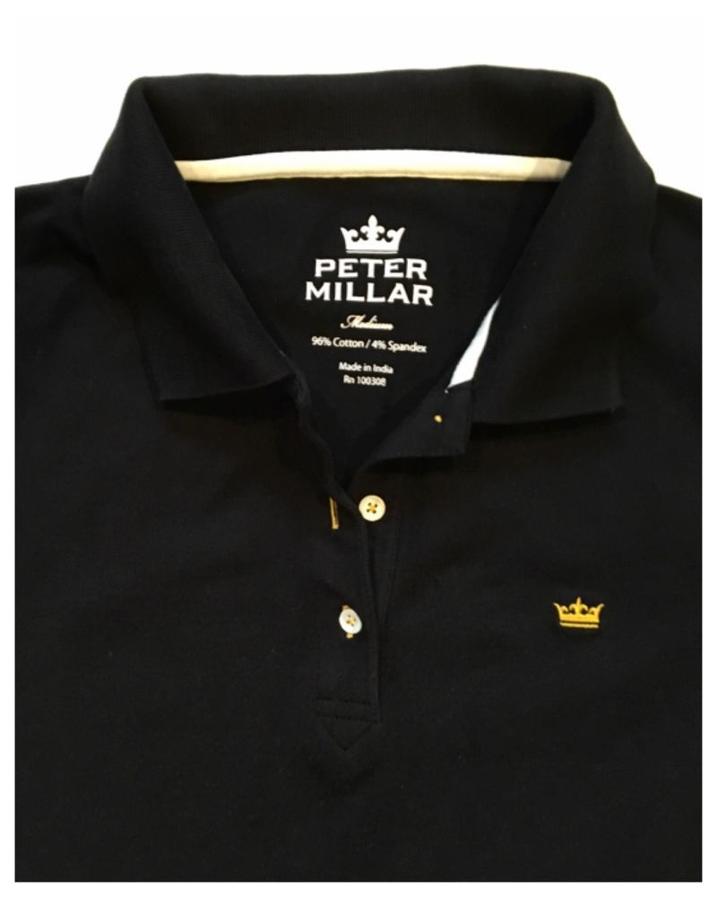 ca146e8b Women's Peter Millar Black Polo Shirt with Gold Crown Logo M EUC MSR $69.50  #PeterMillar #PoloShirt