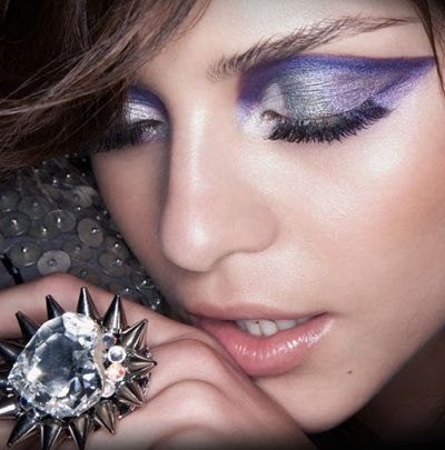 Dramatic purple eyeshadow.