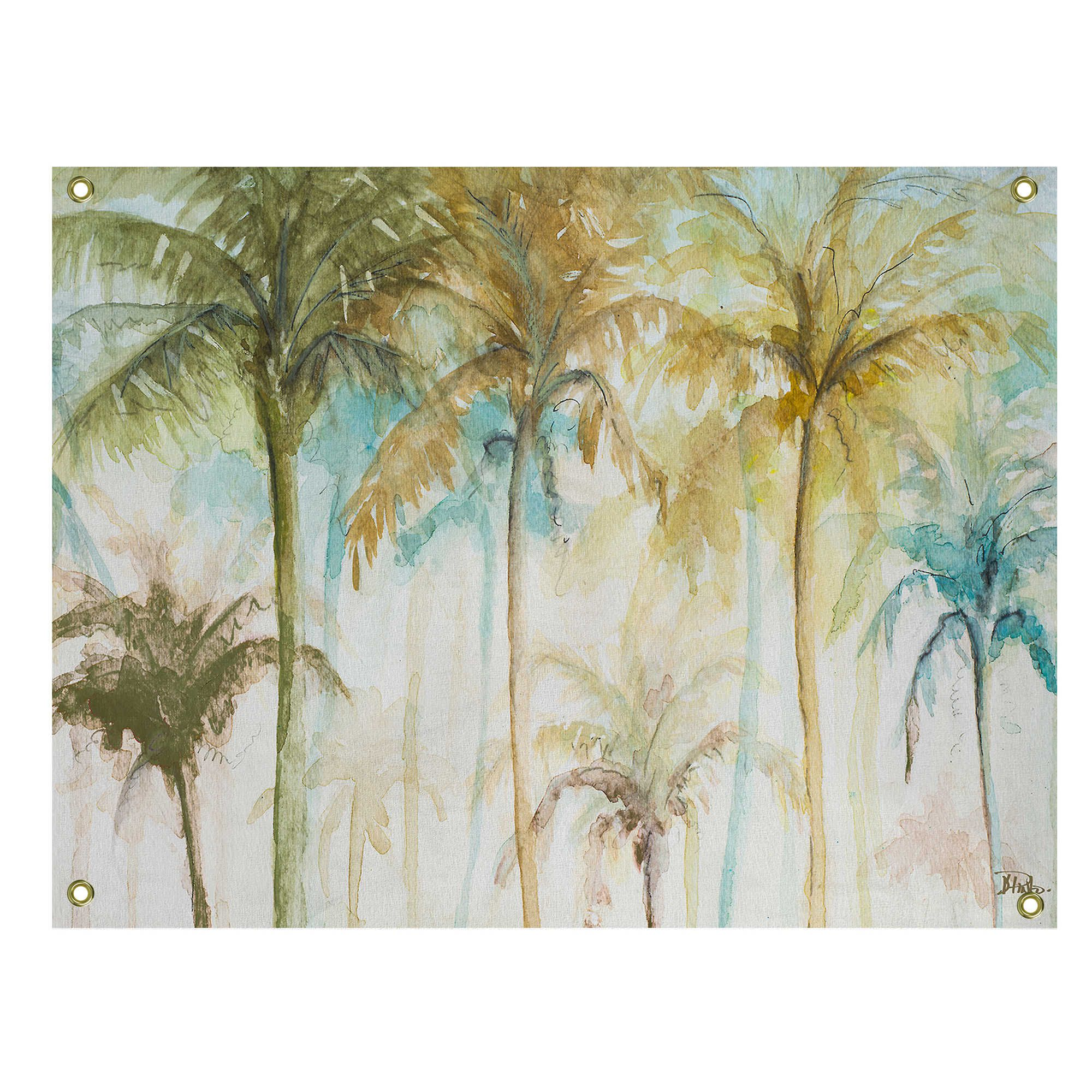 Tropical Palms Watercolor All Weather Canvas Wall Art Canvas Art