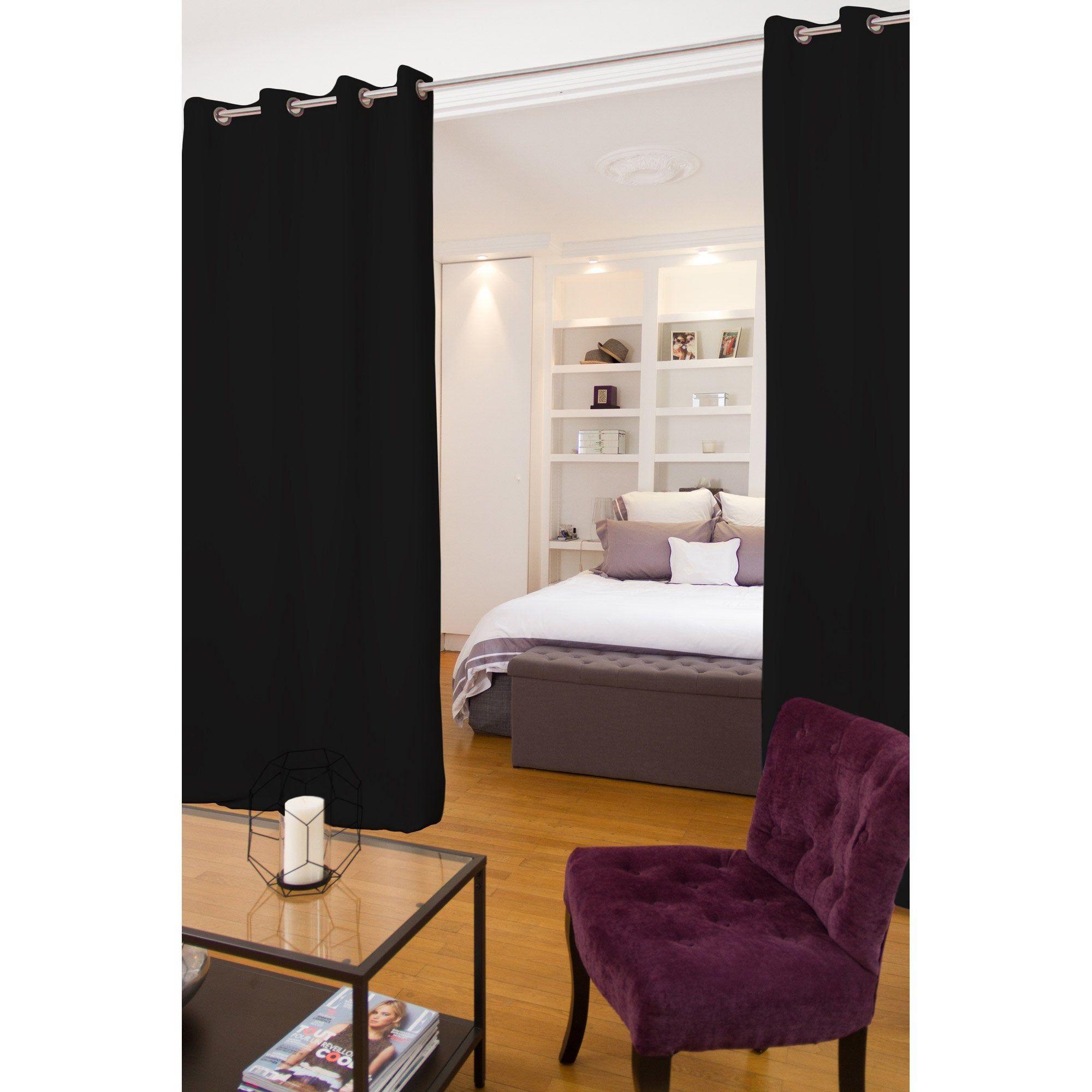 Rideau occultant, Séparateur de pièce, noir, l.12 x H.12 cm ...