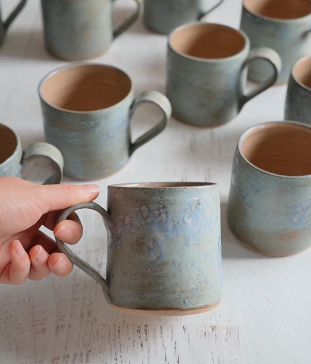 Shop Update Live Happiest Of Fridays Folks Theres Lots Of These Fav Frosty Blue Green Mugs In My Shop Well I Say Lots 13 Thats Lots By Green Mugs Pottery Mugs Pottery