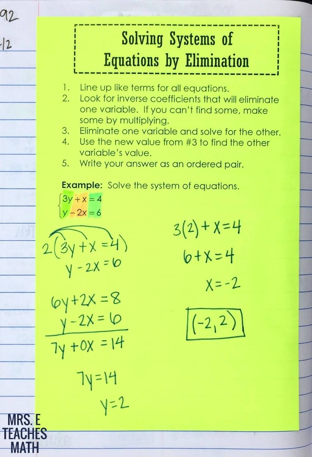 Solving Systems Of Equations By Elimination Interactive Notebook Page Systems Of Equations Teaching Math School Algebra