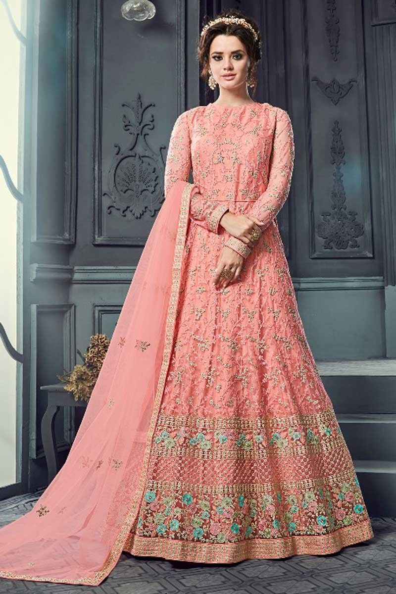 96bdd796711  designer fancy  anarkali  dress with heavy  embroidery for  indianwedding  at  Hakoba