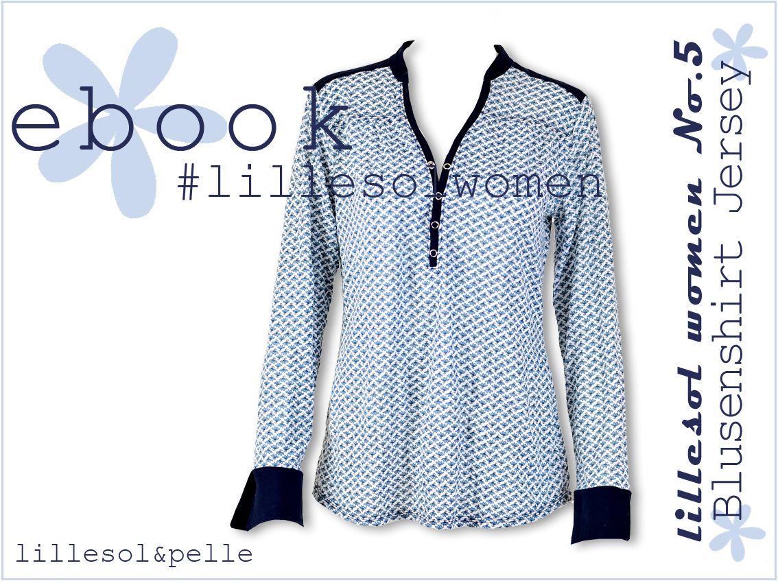 Ebook Schnittmuster Blusenshirt Jersey mit Knopfleiste und Kragen ...
