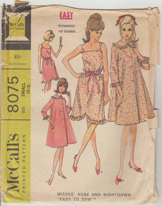 7bc836ea37 1965 McCall s Vintage Robe and Nightgown Pattern