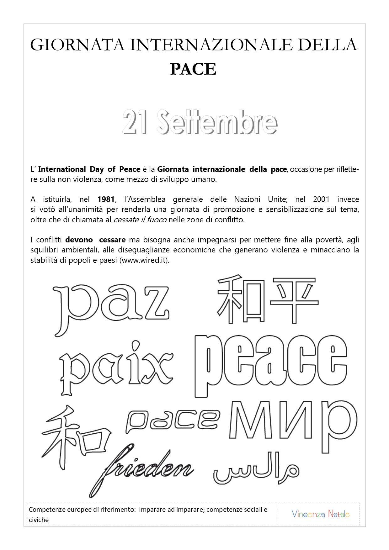 Schede Didattiche Sulla Giornata Internazionale Della Pace Scuola