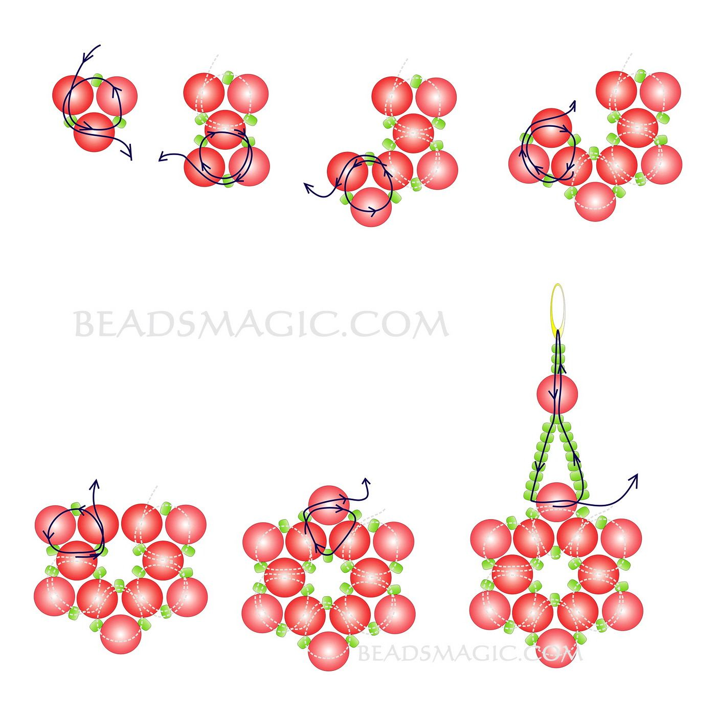 Free Pattern For Earrings Pearl Of The Stars Seed Bead Jewelry