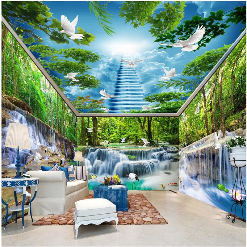 Wall Wallpaper Custom Forest Falls Lake Pigeon Smallpox Whole Room Background Modern Mural For Living Painting Home Decor Affiliate