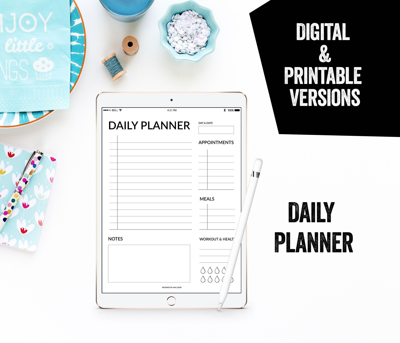 Digital Planner Daily Printable Planner Ipad Pro Planner Todo
