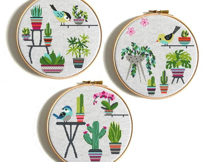 Modern Cross Stitch Pattern Potted Flowers Cactus Cross Stitch Easy Cross Stitch Chart Succulents Beginner Needlecraft Pattern Pdf Download Modern Cross Stitch Cactus Cross Stitch Cross Stitch Patterns