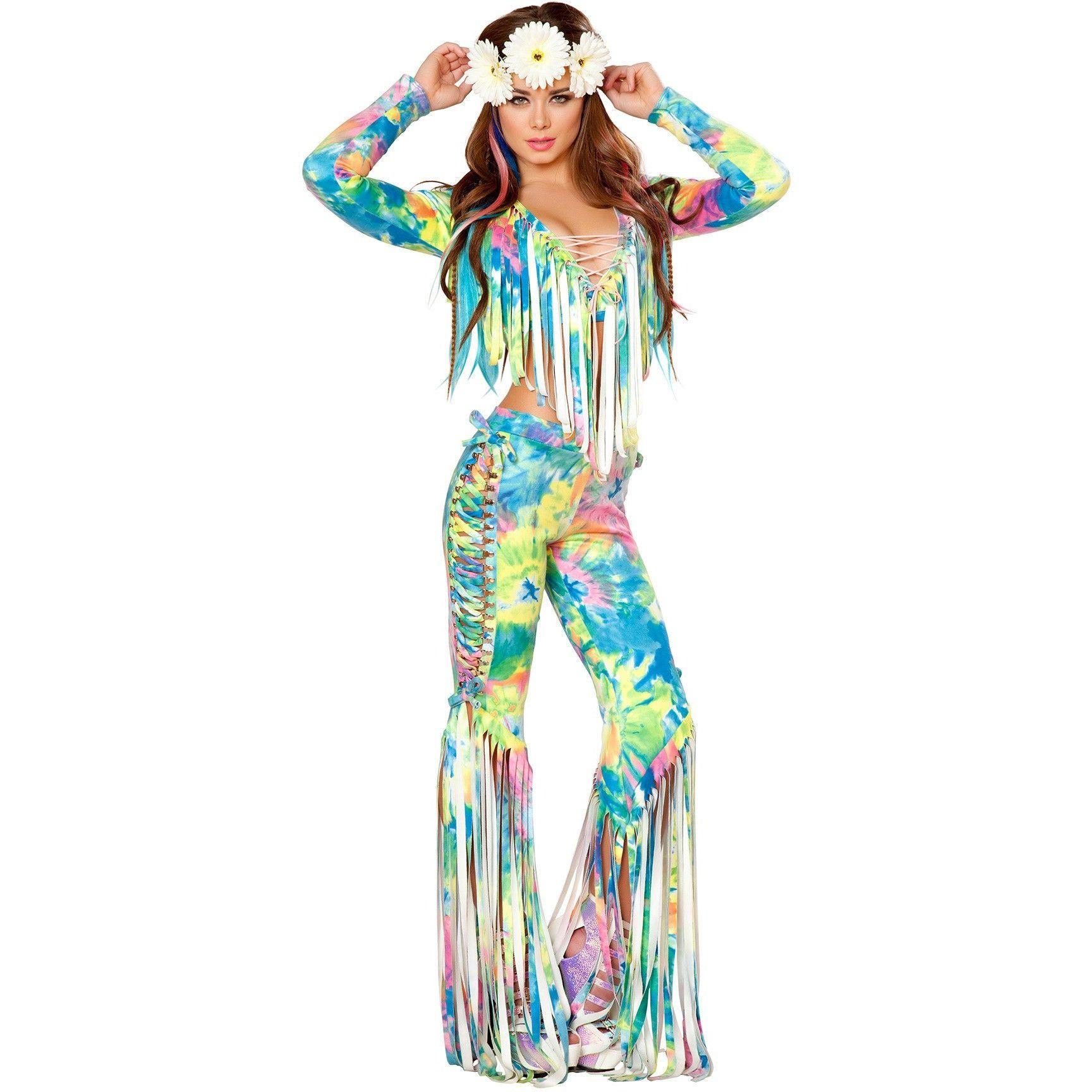 tie dye fringe outfit rave festival trippy plur