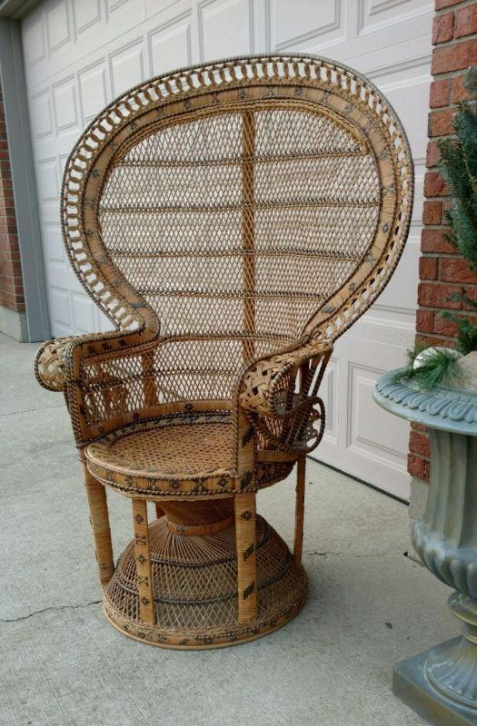 Vintage Wicker High Back Fan Pea Rattan Chair Club Chairs