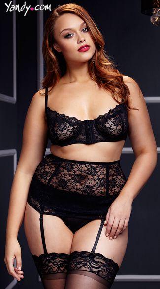 081b2c67f Plus Size Black Lace Bra and Waist Cincher Set with Panty