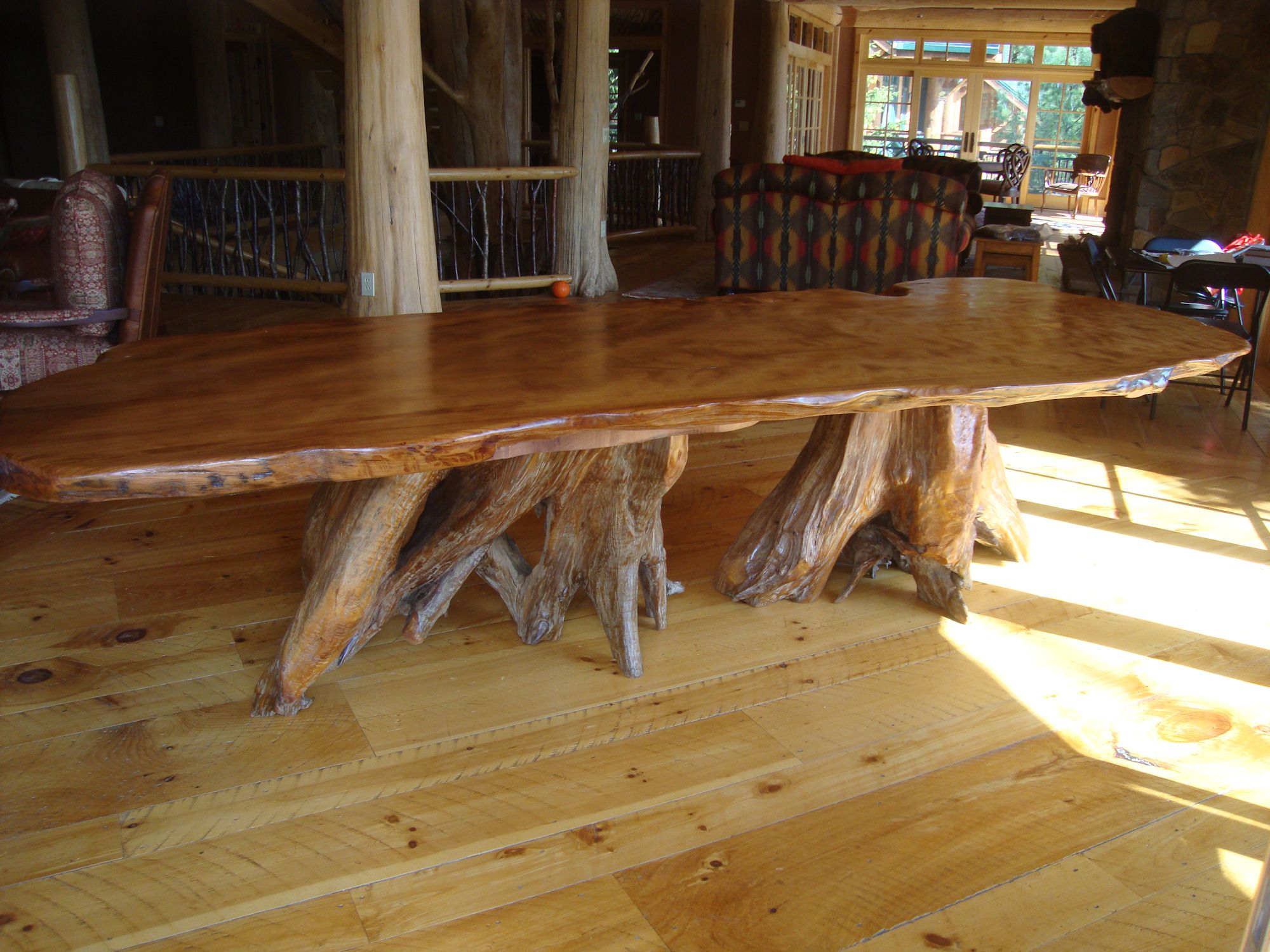 Rustic Dining Room Pandas Kitchen Large Curly Redwood Slab Table