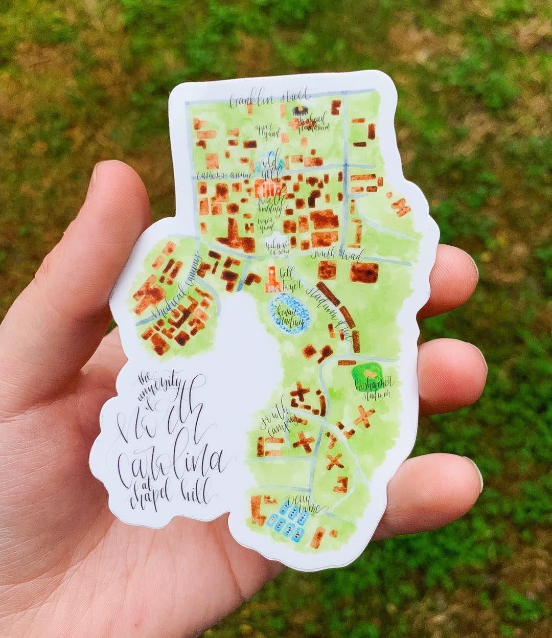 Unc Chapel Hill Map Sticker University Of North Carolina Ram Tar