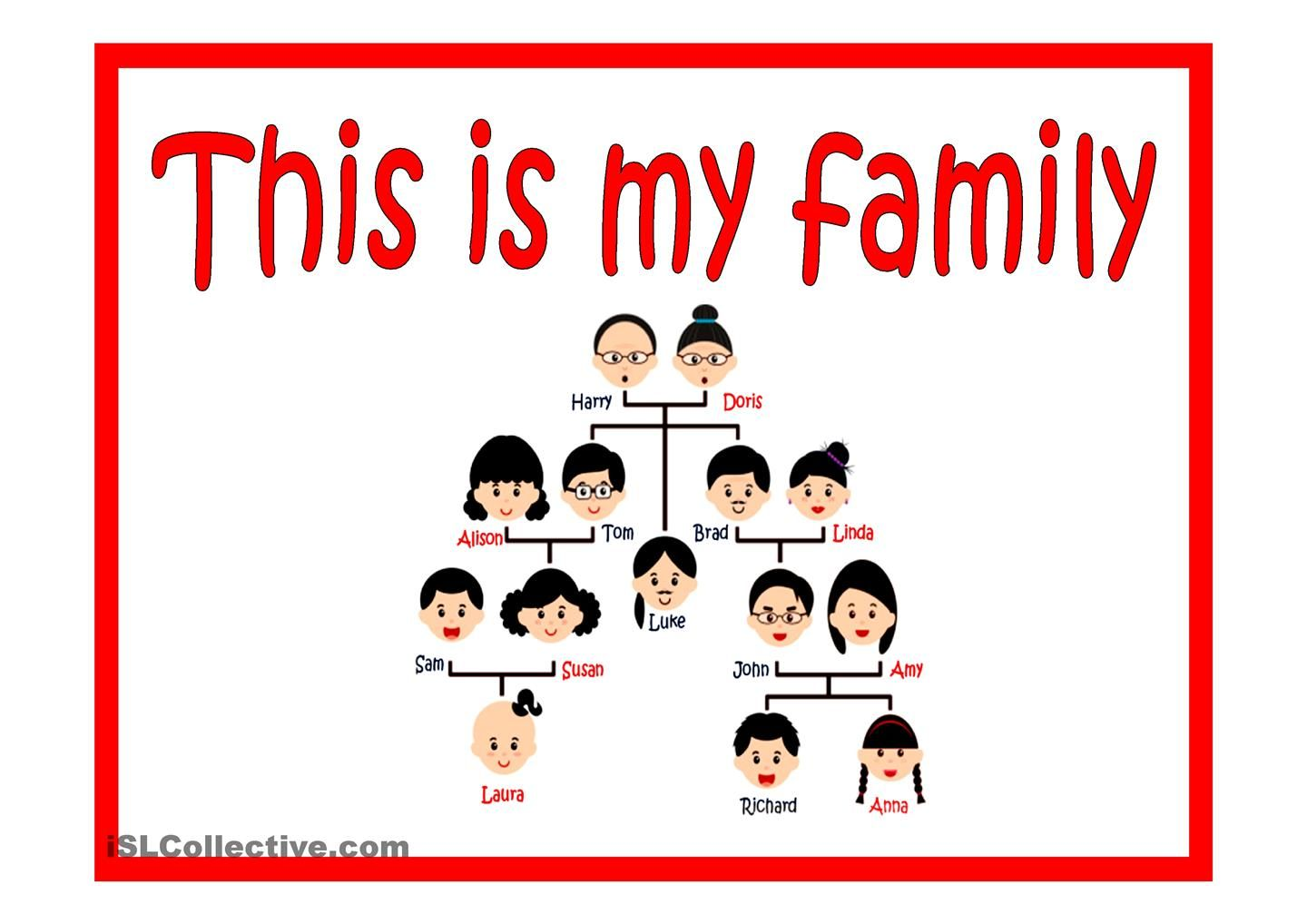 This Is My Family Esl Powerpoint Of The Day By