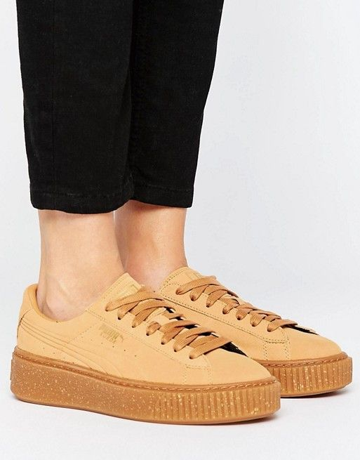 Puma Platform Sneakers In Biscuit Suede With Speckle Gum Sole  d64be72f6