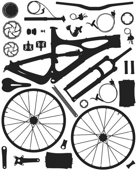 Bicycle Parts Art Print Bicycle Parts Art Bicycle Illustration Bicycle