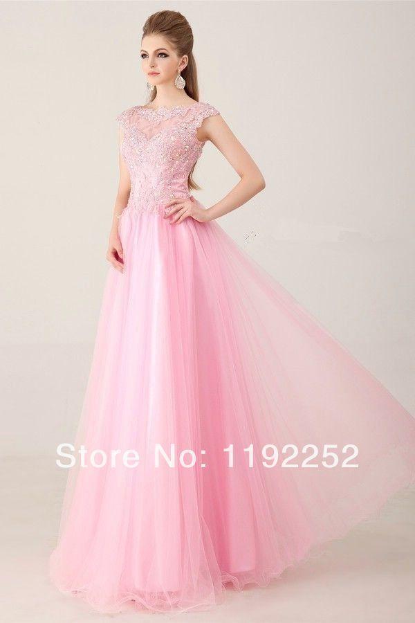 New 2014 custom made modern pink crepe cheap formal dress wih ball ...