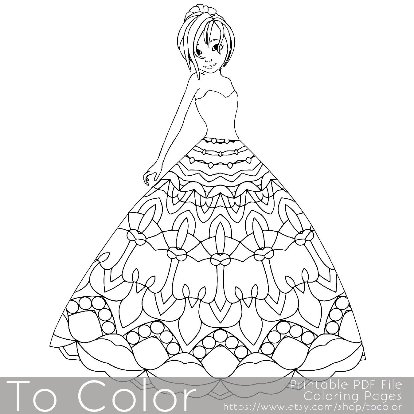 Printable coloring pages grown ups - This Printable Coloring Page For Grownups Features A Princess Wearing A Pretty Dress With A Mandala