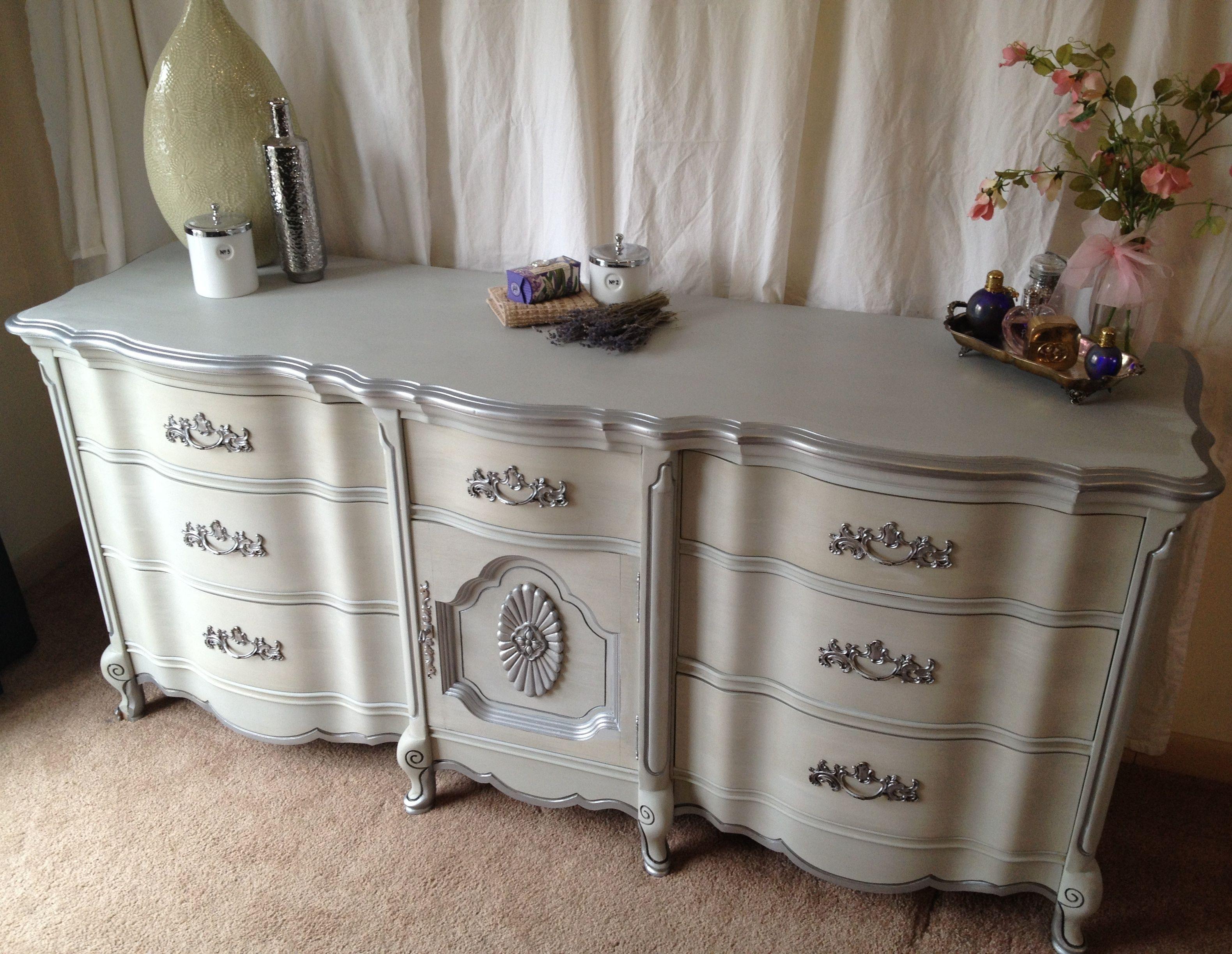 Vintage French Provincial Dresser Paris Grey Silver D Shabby