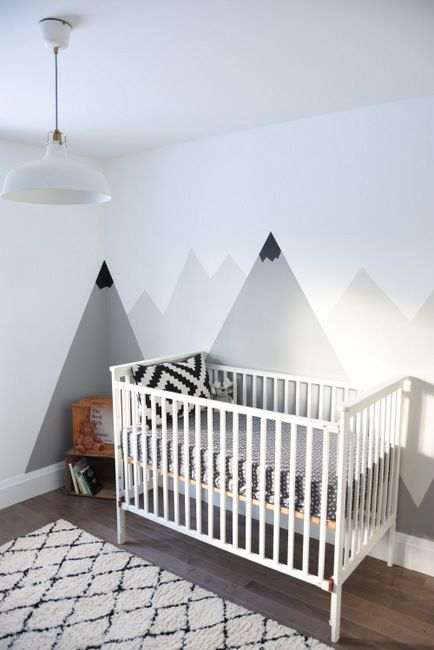 How To Create A Black And White Nursery Accent Wall Kid Room Decor White Kids Room Kids Decor