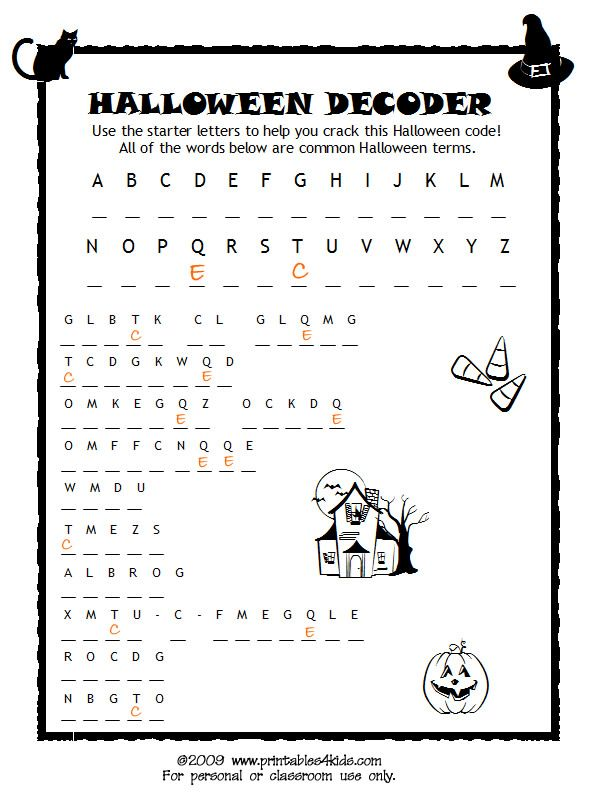 Halloween Code Breaker Cryptoquiz Brain Teaser Printables for – Printable Halloween Worksheets