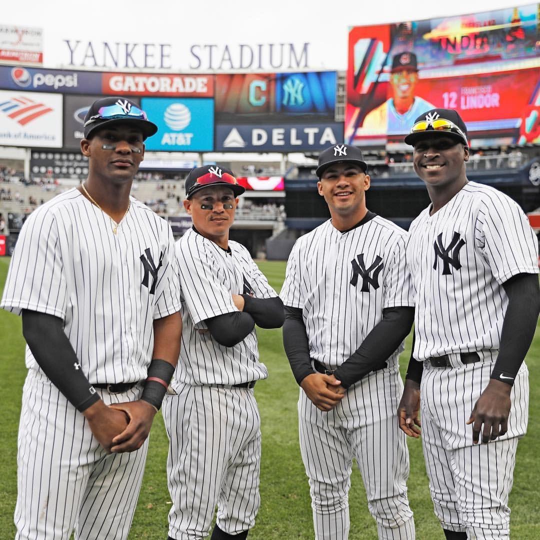 I Present Some Of The Bombers Ronald Torreyes Toeron Miguelandujar 02 Papa Yankees Team New York Yankees Baseball New York Yankees Stadium