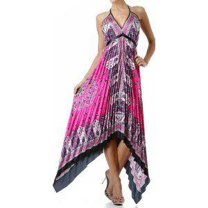 Sakkas Silk Feel Pleated Pleated Handkerchief Hem Adjustable Maxi / Long Dress
