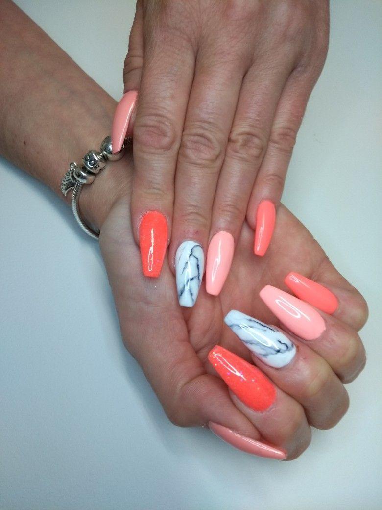Orange Marble Acrylic Nail Design Acrylic Nail Designs Marble Acrylic Nails Luxury Nails