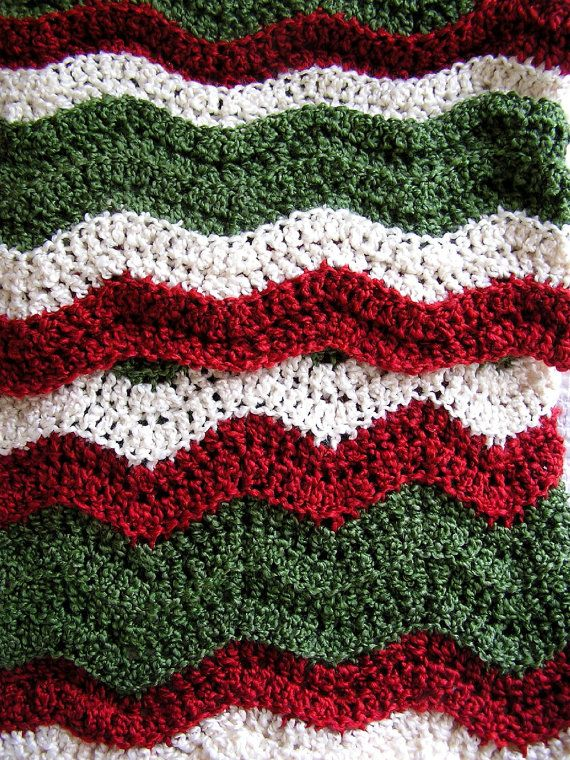 new baby blanket afghan christmas crochet knit wrap ripple stripes ...