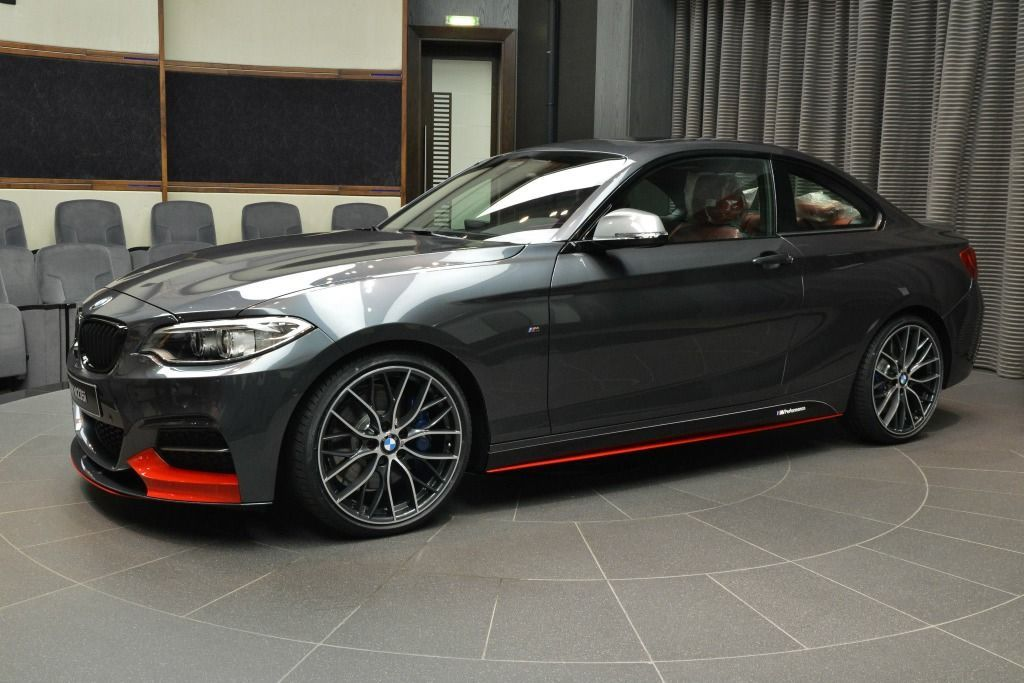 BMW M235i with M Performance Parts: Mineral Grey meets Red  -  #autozubehor #BMW #Grey #M235i #meets #Mineral #Parts #Performance #Red