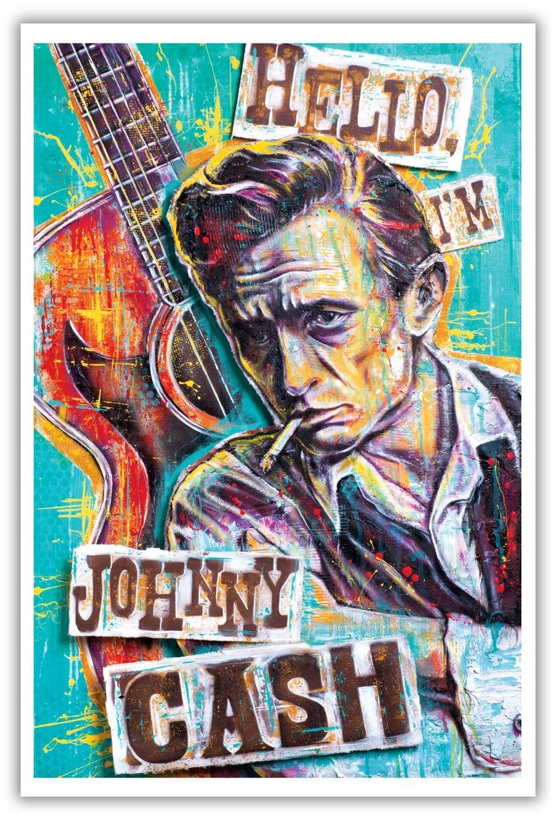 Hello I M Johnny Cash Johnny Cash Art Johnny Cash Poster Prints