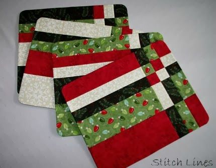 Stitch Lines Tutorial Easy Placemat Finish Placemats Patterns Quilted Placemat Patterns Christmas Placemats