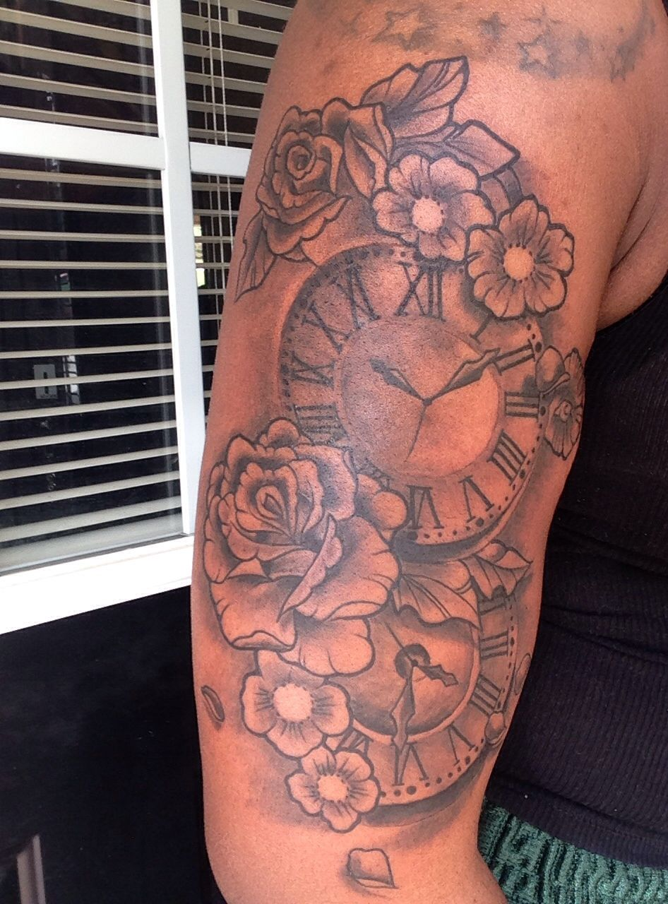 Tattoos of clock showing time of my children's birth! #tattoo #tattoos #clock