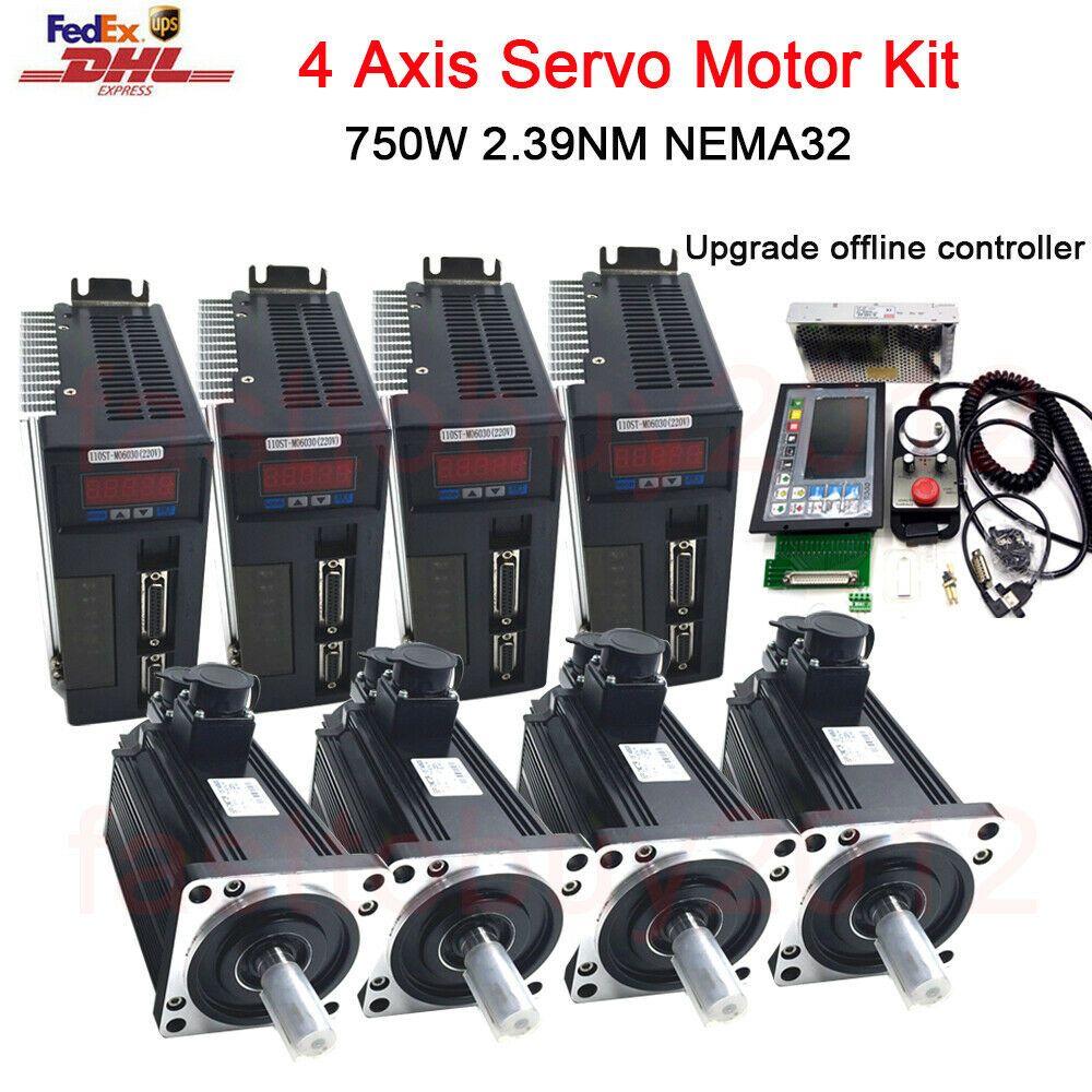 4 Axis 750w Ac Servo Motor 2 39nm Offline Motion Controller Handwheel Engraving Ebay Cnc Controller Motor Programmable Logic Controllers