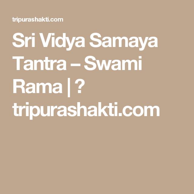 Swami rama sadi vidya tantra sexual health