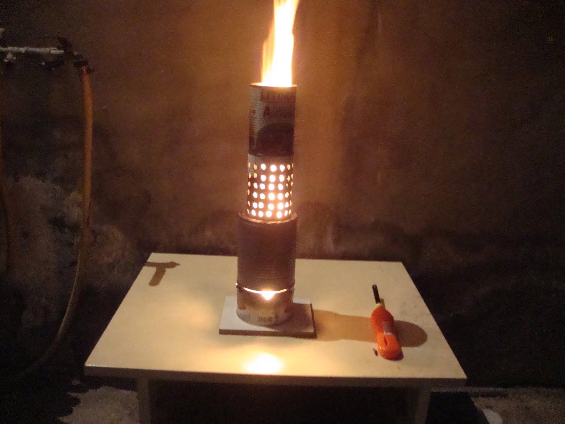 Estufa-Quemador con LATAS y combustible gratis (aceite usado ...